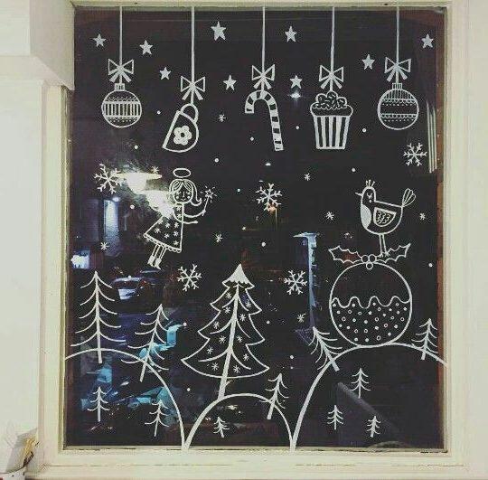Рисунок на окно к новому году красками