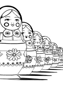 Russian dolls - Coloring Pages for Adults1