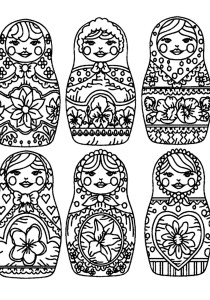Russian dolls - Coloring Pages for Adults5