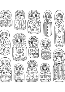Russian dolls - Coloring Pages for Adults3