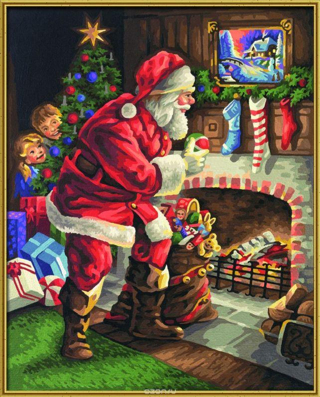 "Набор для рисования по номерам Schipper ""Санта-Клаус у камина"", 40 х 50 см"
