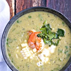 hatch chile soup with corn and shrimp