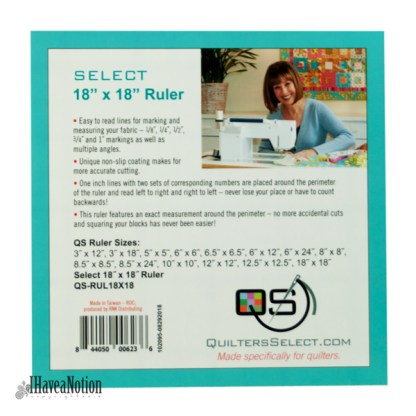 Quilters Select 12.5 inch ruler lable