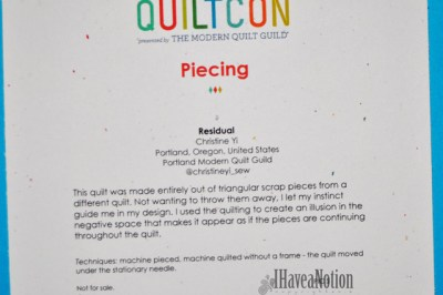 The tag for Residual Quilt