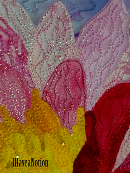 Detail of the pine water lily quilt