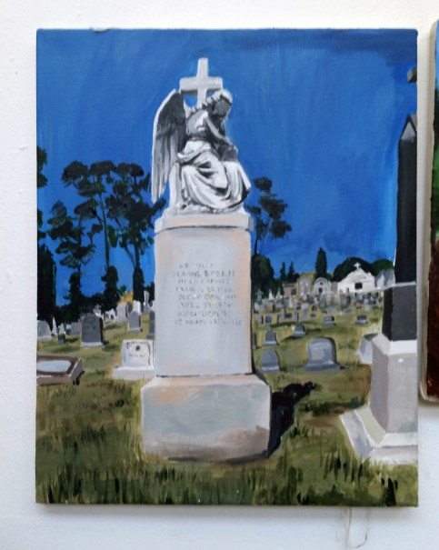 Cemetery project: Students had to use perspective in their drawings at the cemetery, then finish painting it in the studio