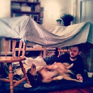 January 2013: Family forts while David heals from his foot surgery