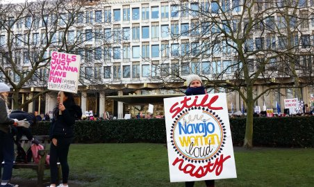 In front of the US Embassy, Grosvenor Square, London