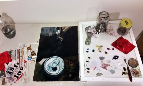 Work table with today's in-progress painting