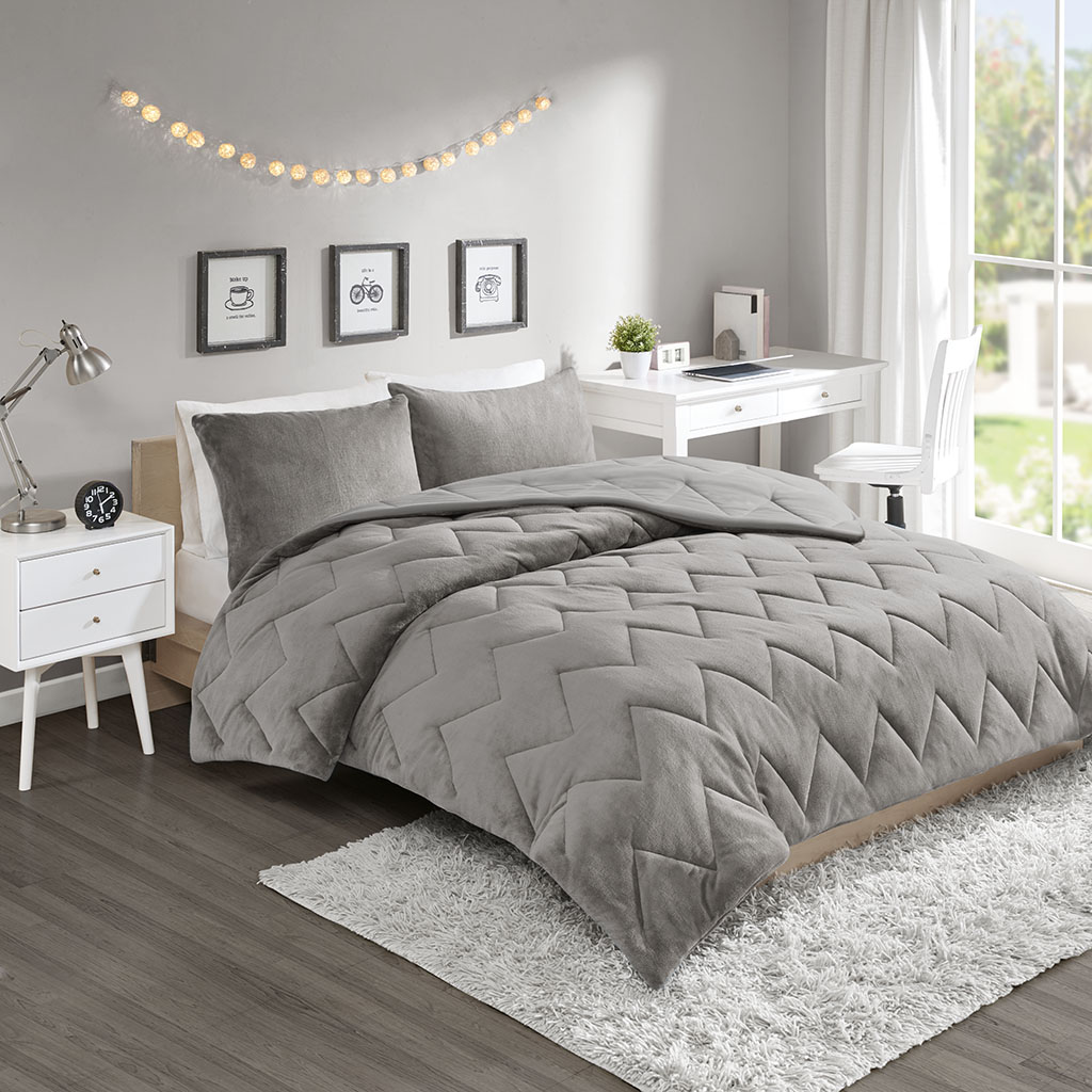 details about full queen kai solid chevron quilted reversible micro fiber comforter set grey 0