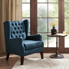 Navy Blue Wingback Chairs Chair Bed Single Maxwell Button Tufted Wing Madison Park Olliix