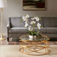 Nora 36-inch Round Coffee Table with Metallic Gold Metal ...