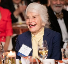 Professor Marian Diamond (IH 1949-52) enjoys the presentation at Gala.