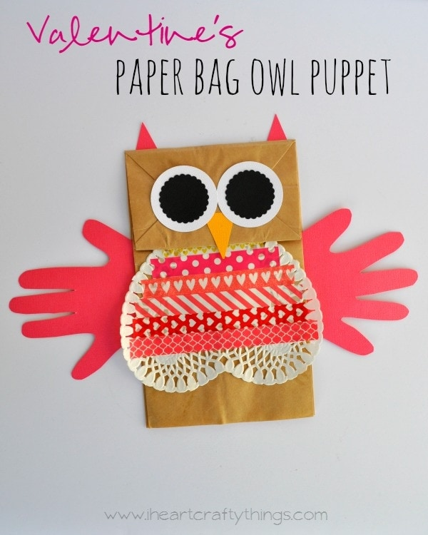 Valentines Paper Bag Owl Puppet I Heart Crafty Things