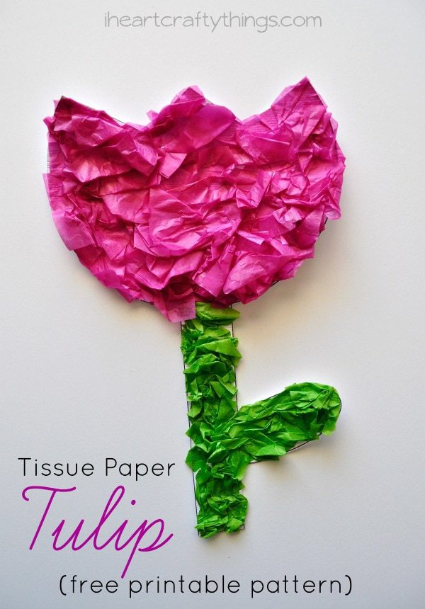 Tissue Paper Tulip Kids Craft With Printable Pattern