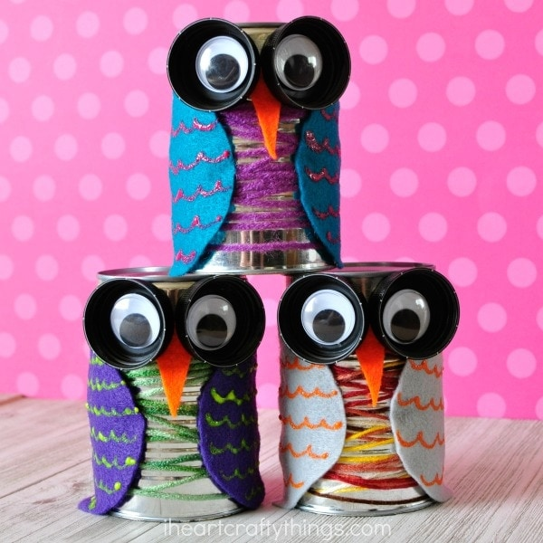 Colorful Tin Can Fall Owl Craft for Kids | i heart crafty things