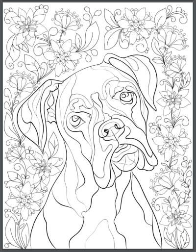 De-stress With Dogs: Downloadable 10 Page Coloring Book