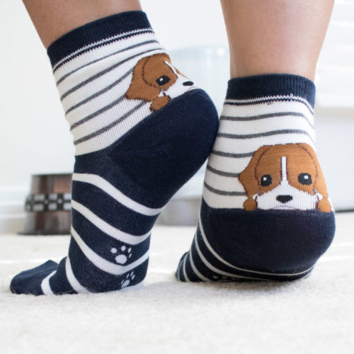 Navy Blue Striped Puppy Socks
