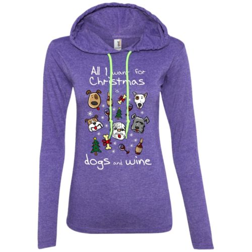 Dogs & Wine For Christmas Ladies' Lightweight T-Shirt Hoodie
