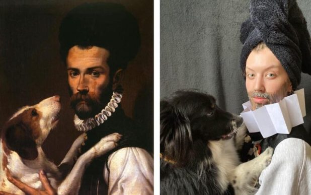 Portrait of Man with Dog recreated