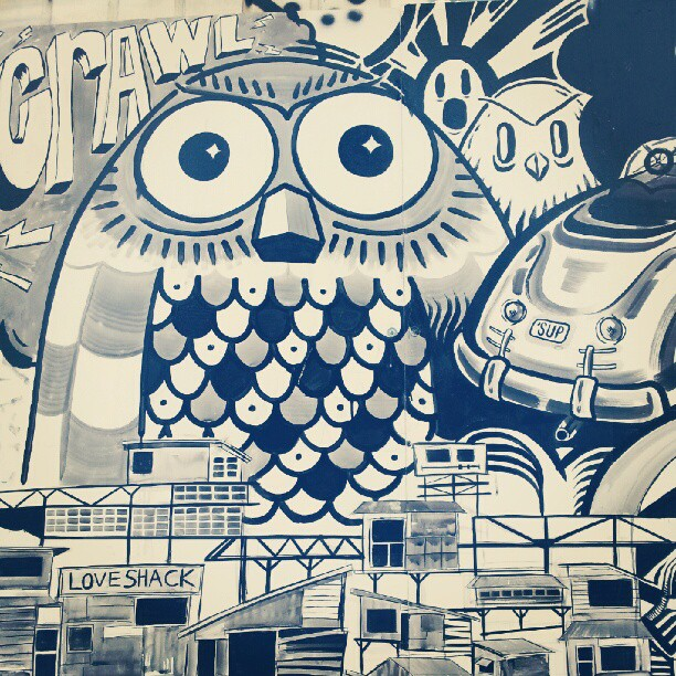 Mural by En Masse outside Dr. Disc