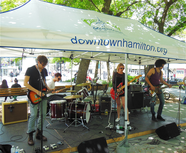 Hands & Teeth performing in Gore Park throughout the Summer Promenade