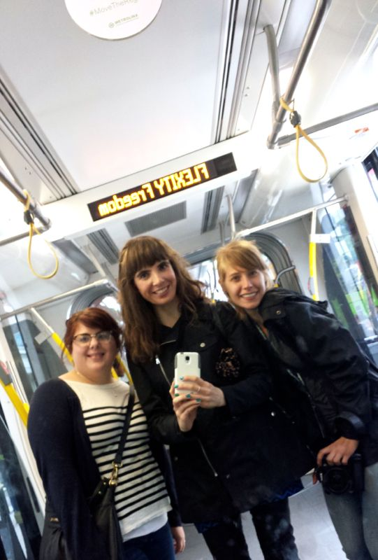 Trish, Kristin and Lisa aboard an LRT care