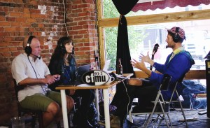 Jamie Tennant and Kristin Archer interviewing Rich Aucoin at Homegrown Hamilton