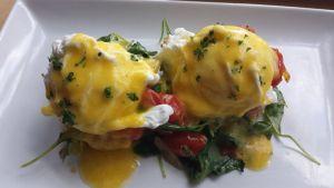 Vegetarian Eggs Benny at Serve Ping Pong Bar & Lounge