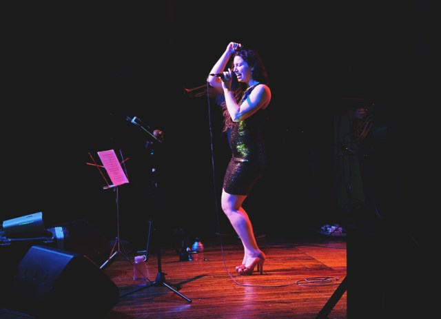 Emily Kemp performing at Pop Up Hamilton event. Photo by Lisa Vuyk