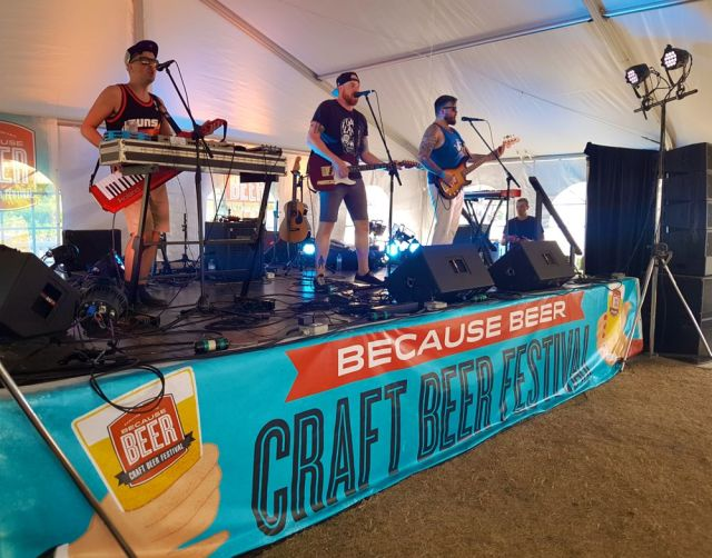 Born in the Eighties performing at Because Beer