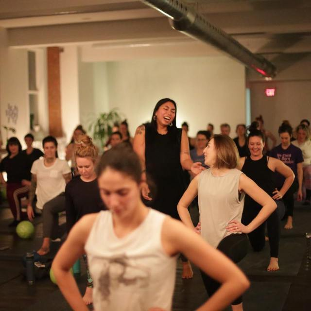 Robin Lamarr leading a class. Photo courtesy of GOODBODYFEEL