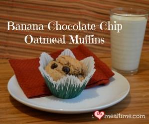 Banana Chocolate Chip Oatmeal Muffins