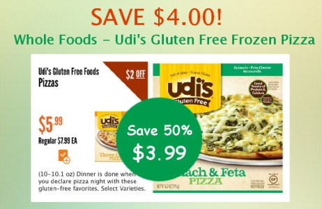 Whole Foods Udi's Gluten Free Frozen Pizza Coupon Deal