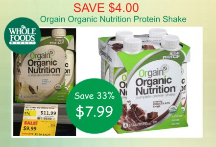 Orgain Organic Nutrition Protein Shake coupon deal