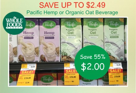 Pacific Hemp or Organic Oat Non-Dairy Beverage coupon deal