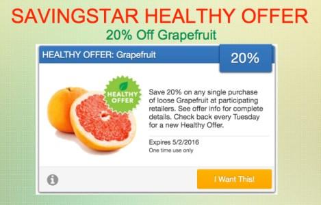 SavingStar Healthy Offer - Grapefruit
