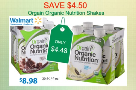 Orgain Organic Nutrition Shakes Coupon Deal