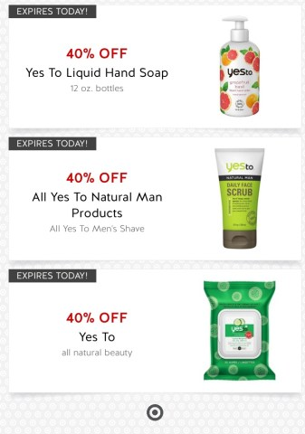 404b575b6b0 TODAY ONLY - IN STORE OR ONLINE! Target - 40% off Yes To Products!