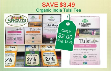 Organic India Tulsi Tea Coupon Deal Only 2 00 At Sprouts