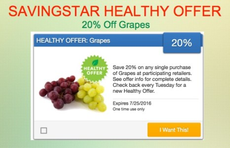 SavingStar Healthy Offer Grapes