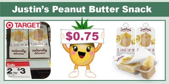 Justin's Peanut Butter + Banana Chip Snack Pack Coupon Deal