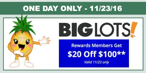 big lots $20 off $100 Purchase