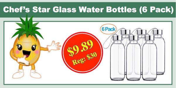 Chef's Star Glass Water Bottles (6 Pack)