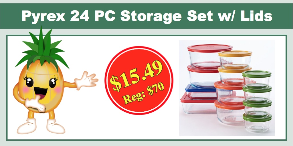 Great **RUUNNN** Pyrex 24 PC Storage Set With Color Lids   ONLY $15.49 (Reg: $70)  + FREE In Store Pickup!