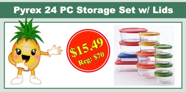 pyrex 24 pc storage set with color lids
