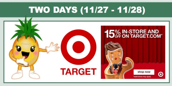 Target 15% off In-Store and Online