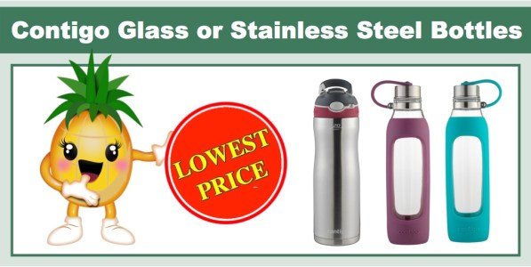 **LOWEST PRICE** Contigo Purity Glass or Stainless Steel Water Bottles