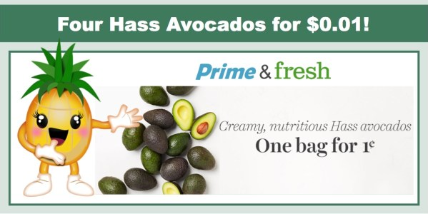 Amazon Fresh: One Bag of 4 Avocados for $0.01!