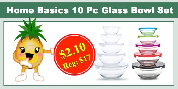 Home Basics 10 Piece Glass Bowl Set